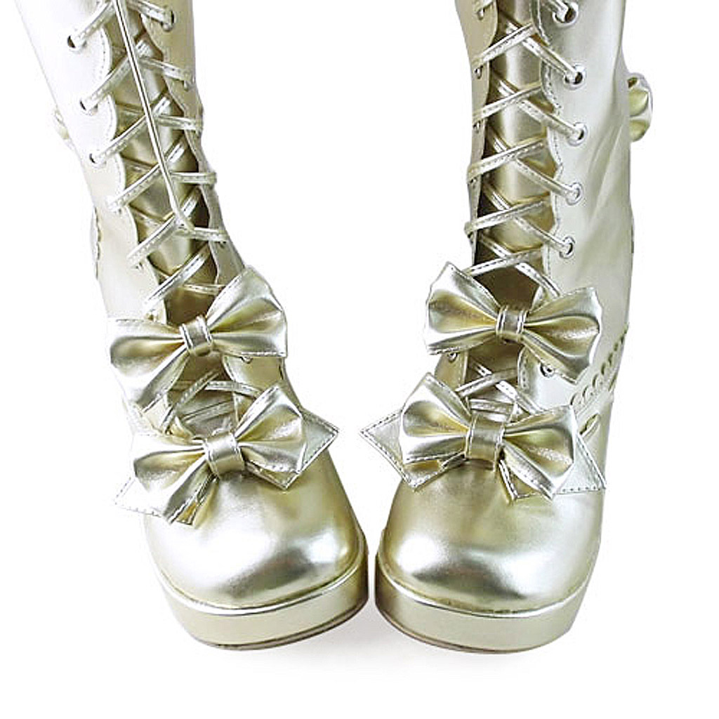 3 Inch Heel Mid Calf Round Toe Bows Decor Gold PU Lolita Boots