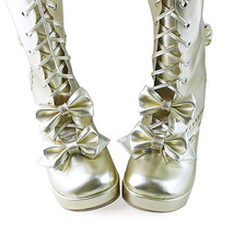 3 Inch Heel Mid Calf Round Toe Bows Decor Gold PU Lolita Boots image 2