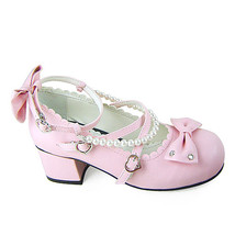 1.8 Inch Heel Ankle High Round Toe Bows Decor Pink PU Lolita Shoes - $46.34