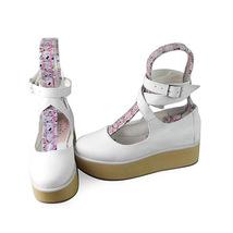 2 Inch Platform Ankle High Round Toe White PU Flatform Lolita Shoes image 2