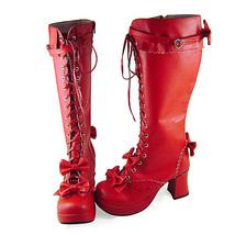 3 Inch Heel Mid Calf Round Toe Bows Decor Red PU Lolita Boots image 2