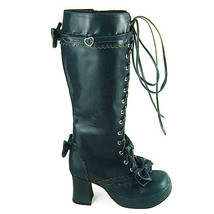 3 Inch Heel Mid Calf Round Toe Bows Decor Zipper Dark Blue PU Lolita Boots - $82.79
