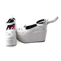 3.6 Inch Platform Ankle High Round Toe White and Black Ketty Flatform Lolita Sho image 3