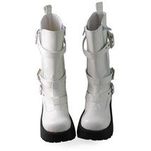 1.8 Inch Heel Mid Calf Round Toe Buckle Zipper White PU Flatform Lolita Boots image 3