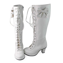 2.5 Inch Heel Mid Calf Pointed Toe Bow Decor White PU Lolita Boots - $85.40