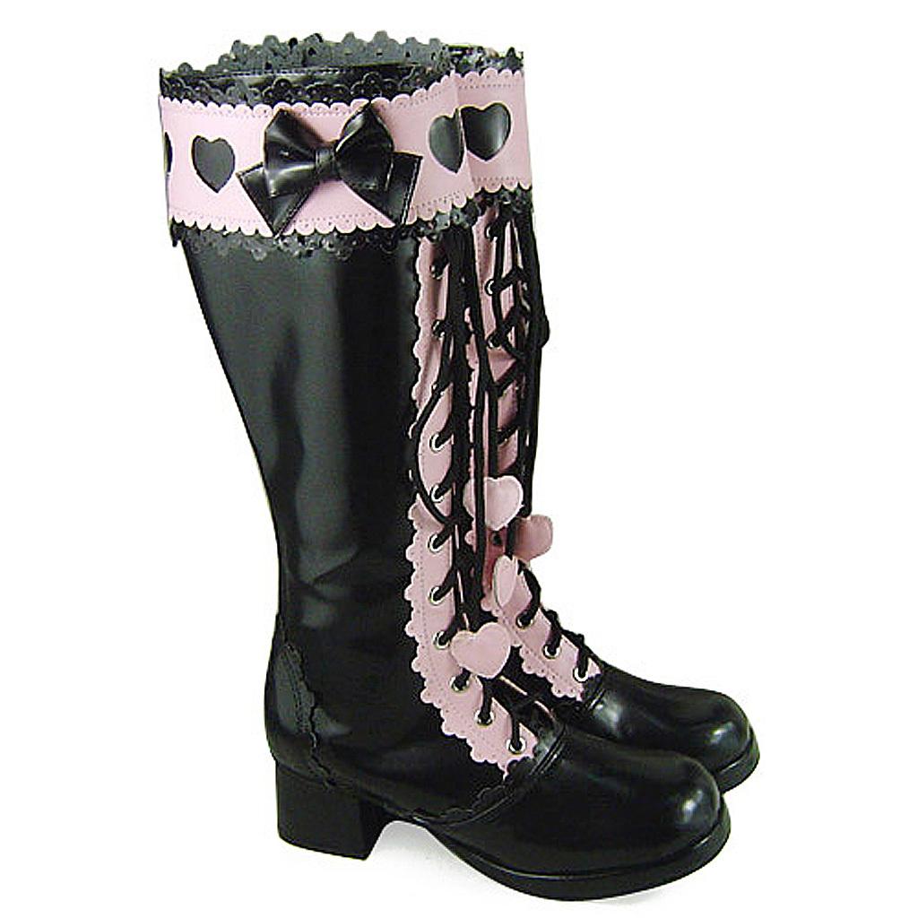 1.8 Inch Heel Mid Calf Round Toe Bow Heart Pattern Zipper Pink and Black PU Loli
