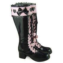 1.8 Inch Heel Mid Calf Round Toe Bow Heart Pattern Zipper Pink and Black PU Loli image 2
