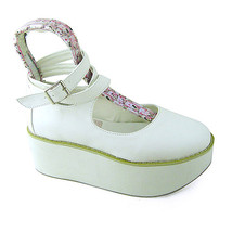 2.7 Inch Platform Round Toe Ankle High White PU Flatform Lolita Shoes - $59.36
