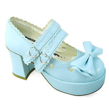 3 Inch Heel 1 Inch Platform Round Toe Ankle High Bow Light Blue PU Flatf... - $43.74