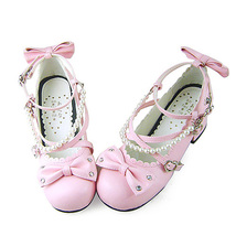 1.8 Inch Heel Ankle High Round Toe Bows Decor Pink PU Lolita Shoes image 2