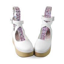 2 Inch Platform Ankle High Round Toe White PU Flatform Lolita Shoes image 3
