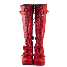 3 Inch Heel Mid Calf Round Toe Bows Decor Red PU Lolita Boots image 3
