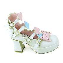 3 Inch Heel Ankle High Pink Bow Decor White PU Lolita Shoes - $51.55