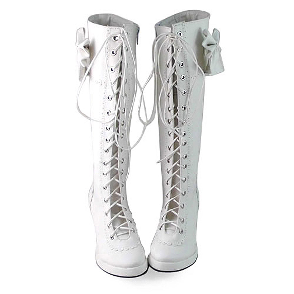 2.5 Inch Heel Mid Calf Pointed Toe Bow Decor White PU Lolita Boots