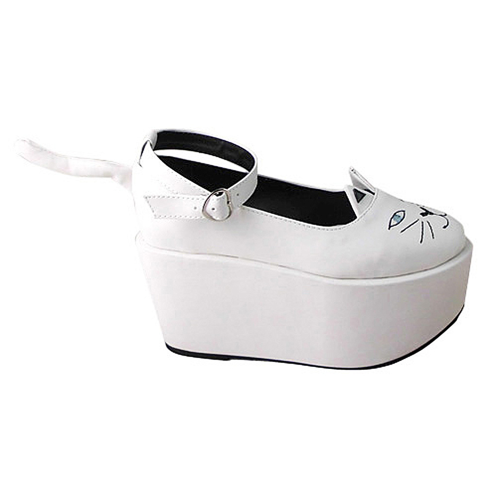 3.6 Inch Platform Ankle High Round Toe White and Black Ketty Flatform Lolita Sho image 4