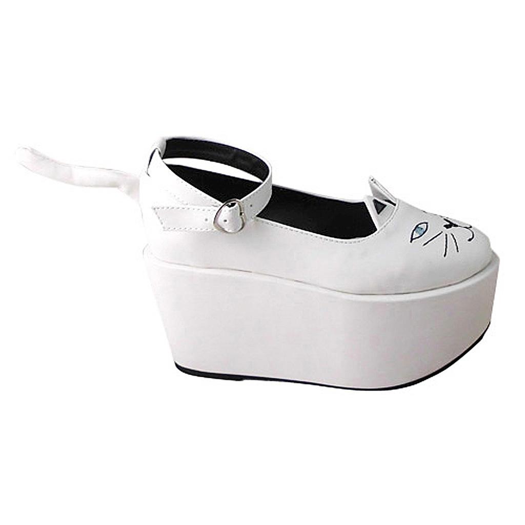 3.6 Inch Platform Ankle High Round Toe White and Black Ketty Flatform Lolita Sho image 4
