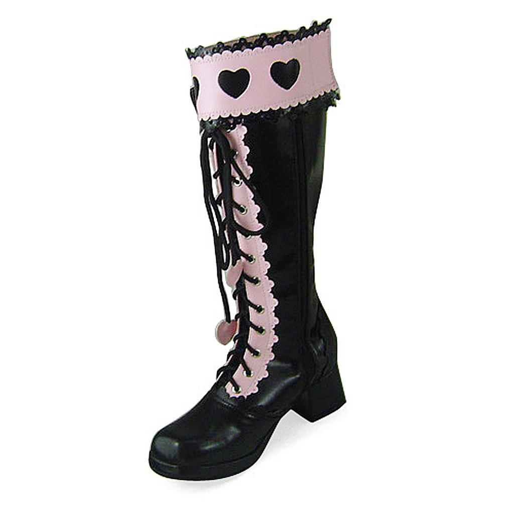 1.8 Inch Heel Mid Calf Round Toe Bow Heart Pattern Zipper Pink and Black PU Loli image 3