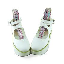 2.7 Inch Platform Round Toe Ankle High White PU Flatform Lolita Shoes image 2