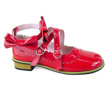 Low Heel Ankle High Round Toe Bows Decor Red PU Lolita Shoes - $43.74