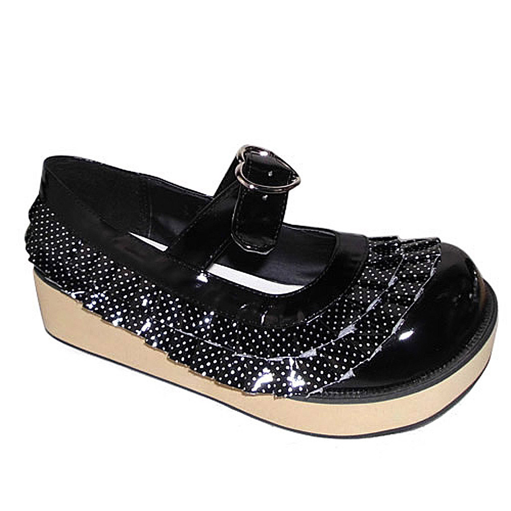 2 Inch Platform Round Toe Ankle High Polka Dot Black PU Flatform Lolita Shoes