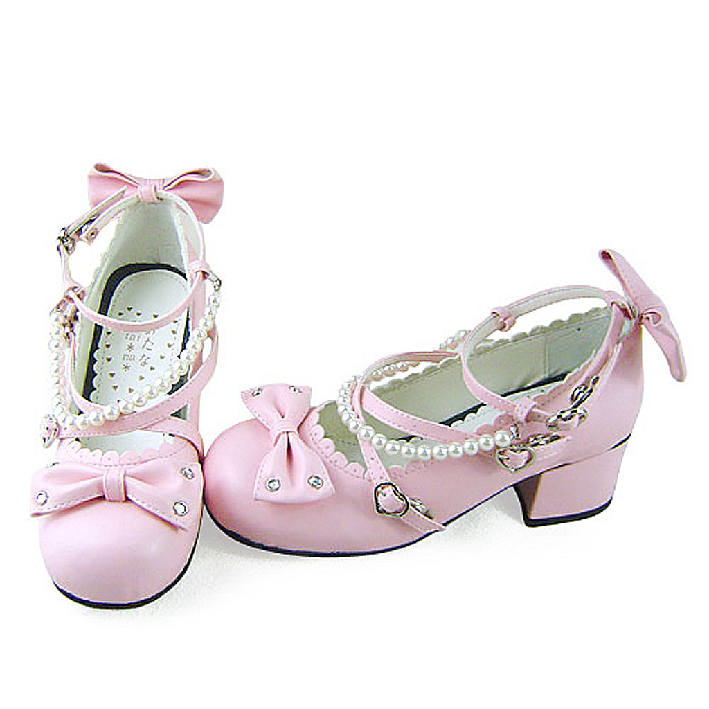 1.8 Inch Heel Ankle High Round Toe Bows Decor Pink PU Lolita Shoes