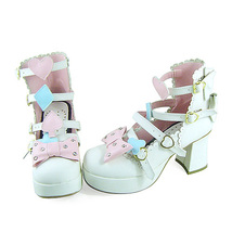 3 Inch Heel Ankle High Pink Bow Decor White PU Lolita Shoes image 2