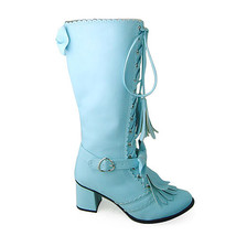 2.5 Inch Heel Mid Calf Bow Decor Round Toe Blue PU Lolita Boots - $85.40