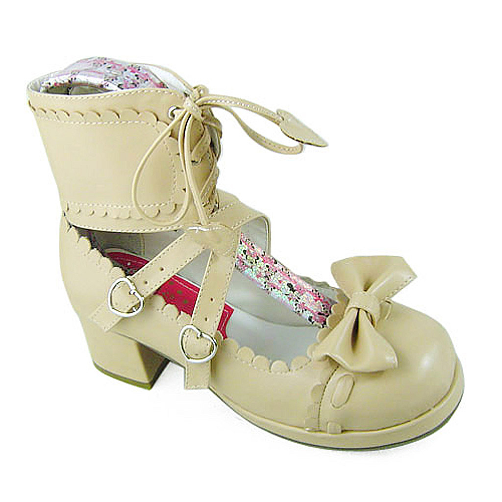 1.8 Inch Heel Ankle High Round Toe Bow Decor Beige PU Lolita Shoes