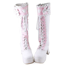 3.6 Inch Heel 2 Inch Platform Mid Calf Round Toe Bow Decor White and Pink PU Fla image 2