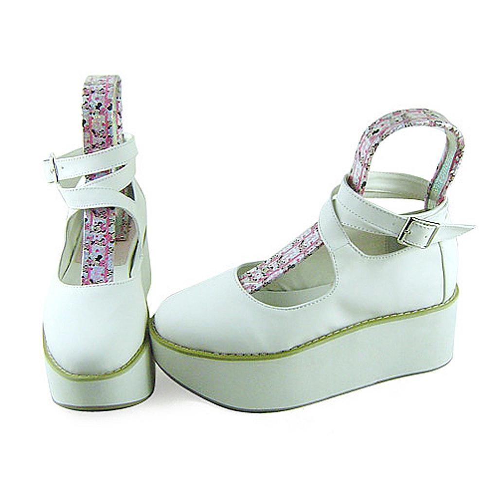 2.7 Inch Platform Round Toe Ankle High White PU Flatform Lolita Shoes