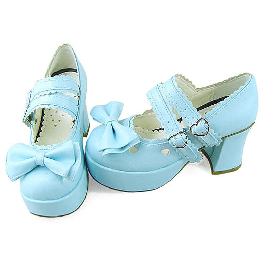 3 Inch Heel 1 Inch Platform Round Toe Ankle High Bow Light Blue PU Flatform Loli