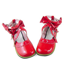 Low Heel Ankle High Round Toe Bows Decor Red PU Lolita Shoes image 2