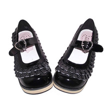 2 Inch Platform Round Toe Ankle High Polka Dot Black PU Flatform Lolita Shoes image 2