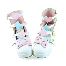 3 Inch Heel Ankle High Pink Bow Decor White PU Lolita Shoes image 3