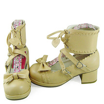 1.8 Inch Heel Ankle High Round Toe Bow Decor Beige PU Lolita Shoes image 2
