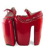 12.4 Inch Heel 12 Inch Platform Lace Red PU Flatform Lolita Shoes - $103.62