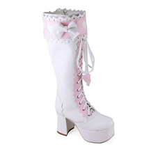3.6 Inch Heel 2 Inch Platform Mid Calf Round Toe Bow Decor White and Pink PU Fla image 3