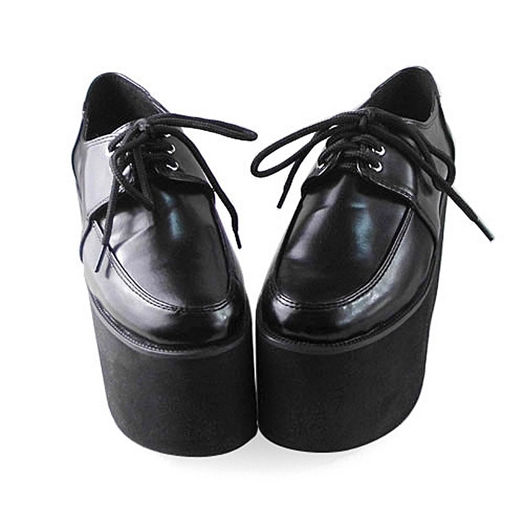 4 Inch Platform Pointed Toe Ankle High Black PU Flatform Lolita shoes image 3