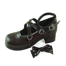 1.8 Inch Heel Ankle High Round Toe Bow Decor Dark Brown PU Lolita Shoes - $43.74