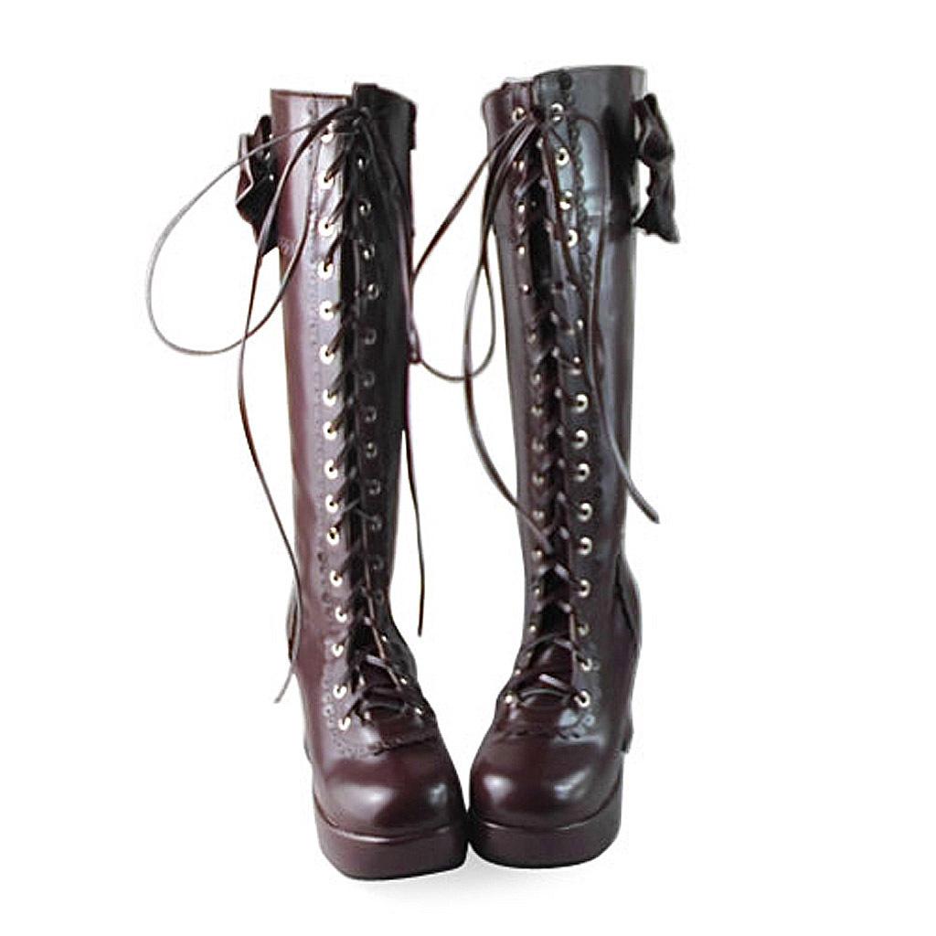 3 Inch Heel 1.2 Inch Platform Mid Calf Round Toe Bow Zipper Brown PU Flatform Lo