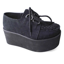 3.2 Inch Platform Ankle High Round Toe Suede Black Flatform Lolita Shoes - $59.36