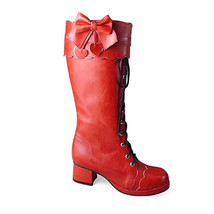 1.8 Inch Heel Mid Calf Round Toe Black Strape Bow Red PU Lolita Boots - $82.79