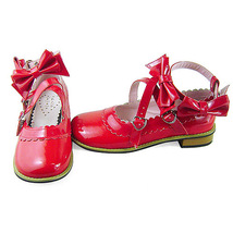 Low Heel Ankle High Round Toe Bows Decor Red PU Lolita Shoes image 3