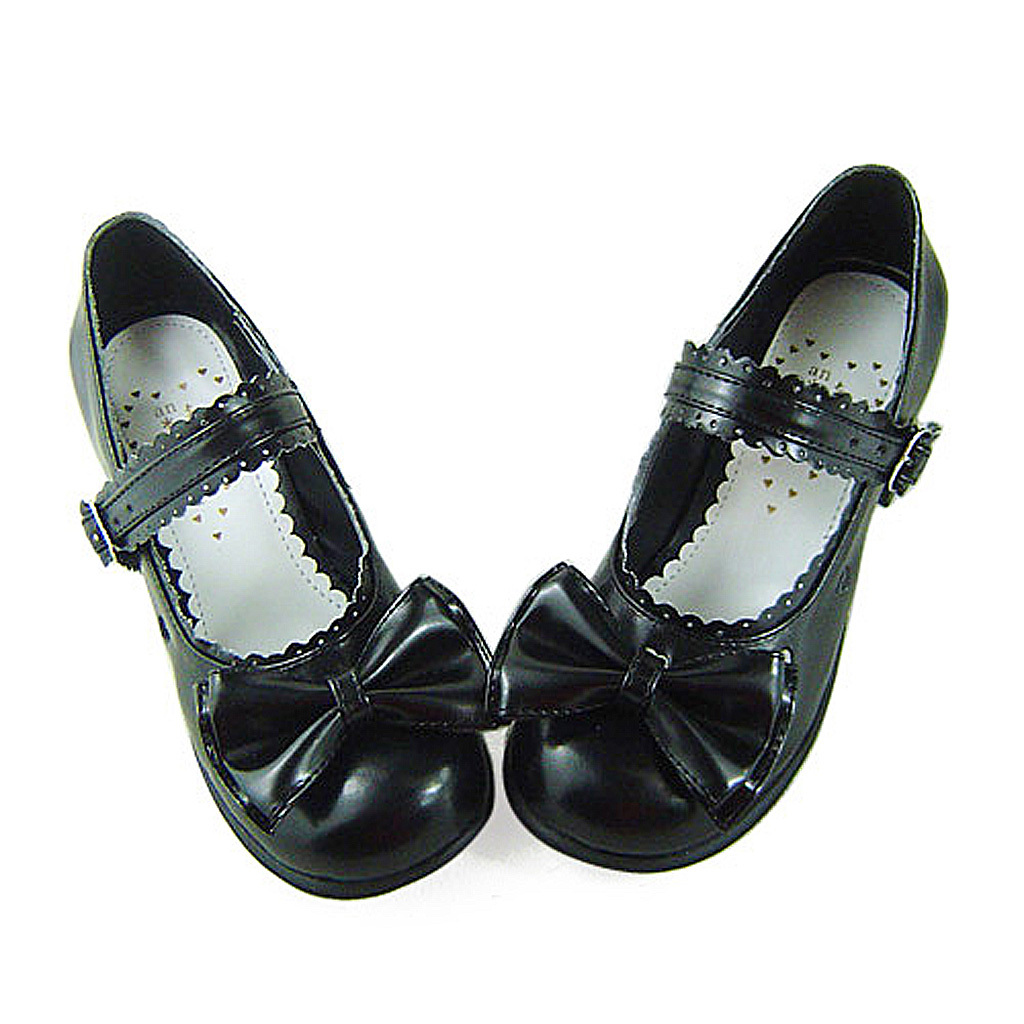 1.8 Inch Heel Round Toe Ankle High Bow Heart Pattern Black PU Lolita Shoes