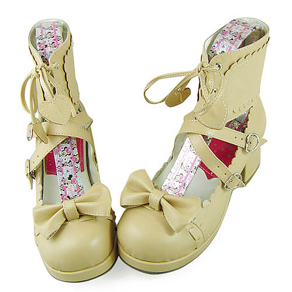 1.8 Inch Heel Ankle High Round Toe Bow Decor Beige PU Lolita Shoes image 3