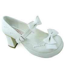 3 Inch Heel Ankle High Round Toe Bows Decor White PU Lolita Sandals Shoes - $43.74