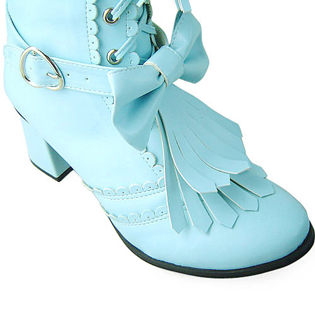 2.5 Inch Heel Mid Calf Bow Decor Round Toe Blue PU Lolita Boots