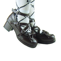 1.8 Inch Heel Ankle High Round Toe Bow Decor Dark Brown PU Lolita Shoes image 2