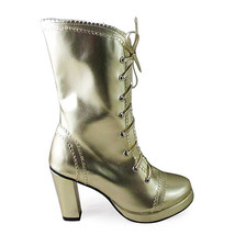 3.4 Inch Heel Mid Calf Round Toe Gold PU Lolita Boots - $82.79