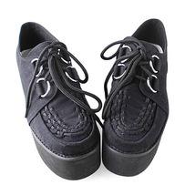 3.2 Inch Platform Ankle High Round Toe Suede Black Flatform Lolita Shoes image 2